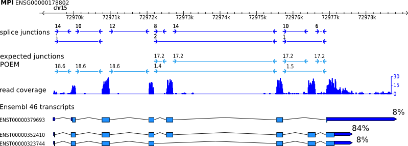example gene with RNA-seq transcript expression levels